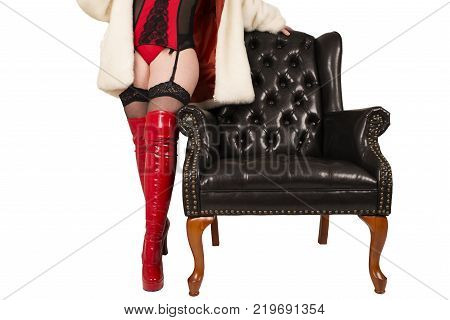 Sexy woman in red and black underwear isolated on white background.