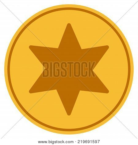 6 Corners Star golden coin icon. Vector style is a gold yellow flat coin symbol.