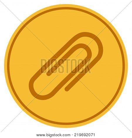 Attachment Paperclip golden coin icon. Vector style is a gold yellow flat coin symbol.