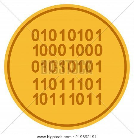 Binary Code golden coin icon. Vector style is a gold yellow flat coin symbol.