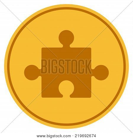 Component golden coin icon. Vector style is a gold yellow flat coin symbol.
