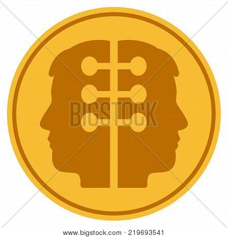 Dual Head Interface golden coin icon. Vector style is a gold yellow flat coin symbol.