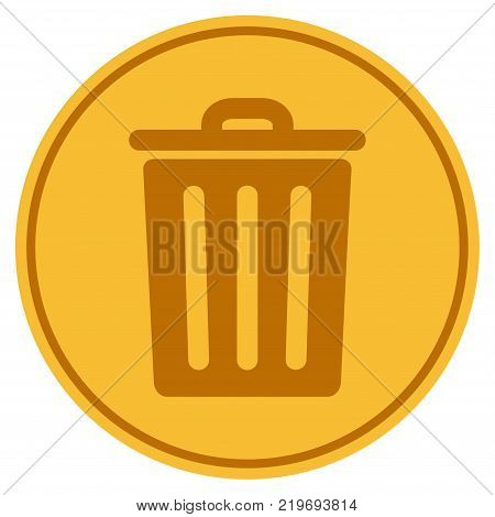 Dustbin golden coin icon. Vector style is a gold yellow flat coin symbol.