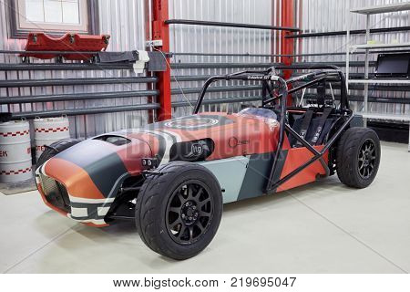 MOSCOW, RUSSIA - OCT 27, 2017: (PR) Racing car ShortCut  based on the legendary Lotus Seven in garage of DB 527 company.