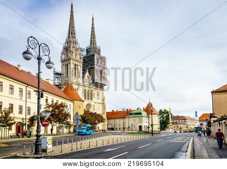 Zagreb, Croatia, September 1, 2017: Cathedral of Zagreb on Kaptol Street in the city center of Zagreb, Croatia