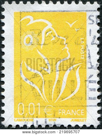 FRANCE - CIRCA 2005: A stamp printed in France depicts Marianne is a national emblem of France circa 2005