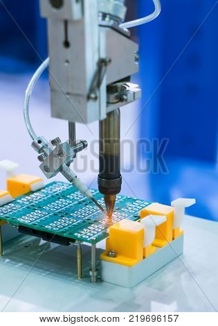 soldering iron tips of automated manufacturing soldering and assembly pcb board poster