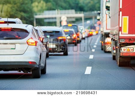 traffic jam or collapse on autostrada motorway road