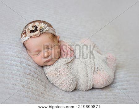 Newborn baby girl swaddled in wrap