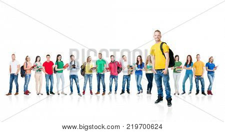 Large group of teenagers isolated on white background. Many different people standing together. School, education, college, university concept.