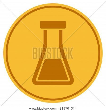 Flask golden coin icon. Vector style is a gold yellow flat coin symbol.