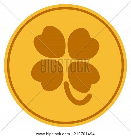 Four-Leafed Clover golden coin icon. Vector style is a gold yellow flat coin symbol.