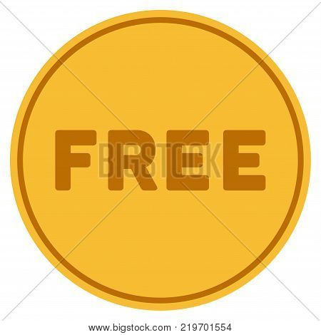 Free golden coin icon. Vector style is a gold yellow flat coin symbol.