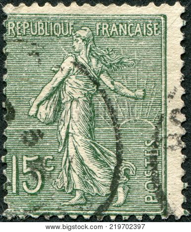 FRANCE - CIRCA 1903: A stamp printed in France depicts a sower circa 1903