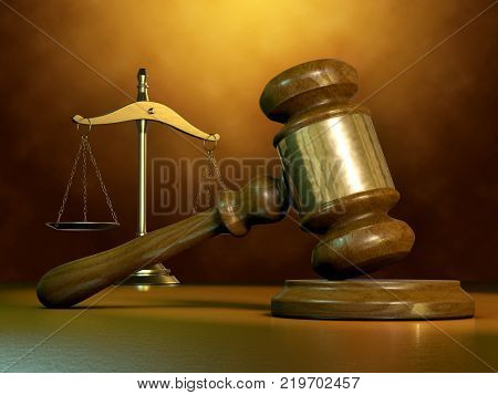 Justice themed composition with a legal hammer and a scale. 3D illustration.