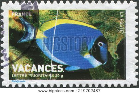 FRANCE - CIRCA 2006: A stamp printed in France (not state postal company La Poste) shows tropical fish Acanthurus leucosternon circa 2006