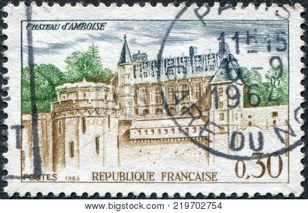 FRANCE - CIRCA 1963: A stamp printed in France shows the Chateau at Amboise circa 1963