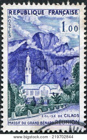 FRANCE - CIRCA 1960: A stamp printed in France shows Cilaos Church Reunion circa 1960