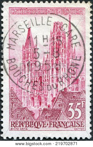 FRANCE - CIRCA 1957: A stamp printed in France shows the Rouen Cathedral circa 1957