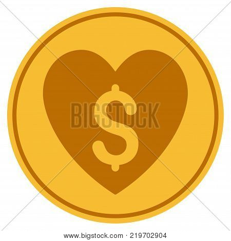 Paid Love golden coin icon. Vector style is a gold yellow flat coin symbol.