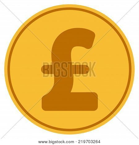 Pound Sterling golden coin icon. Vector style is a gold yellow flat coin symbol.