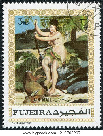 FUJEIRA - CIRCA 1970: A stamp printed in the Fujeira, shows a painting by Renoir,
