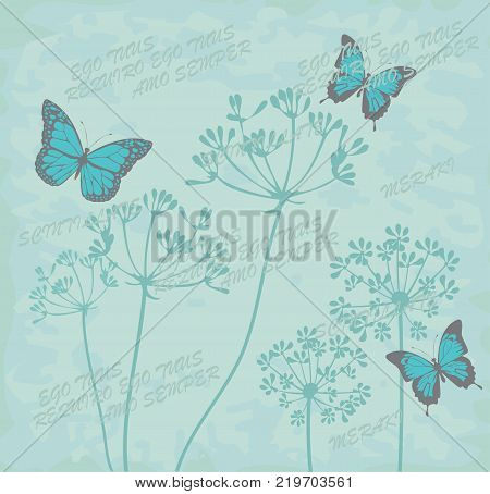 vector illustration of botanical floral pattern with butterflies. Botanical flowers butterflies throw pillow. I need you I love you forever and lovely written in Latin text. And Greek word Meraki meaning doing it with love passion and a lot of soul.