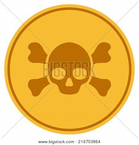 Skull Crossbones golden coin icon. Vector style is a gold yellow flat coin symbol.