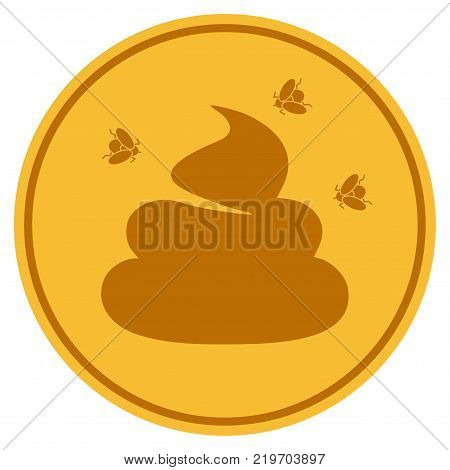 Smelly Shit golden coin icon. Vector style is a gold yellow flat coin symbol.