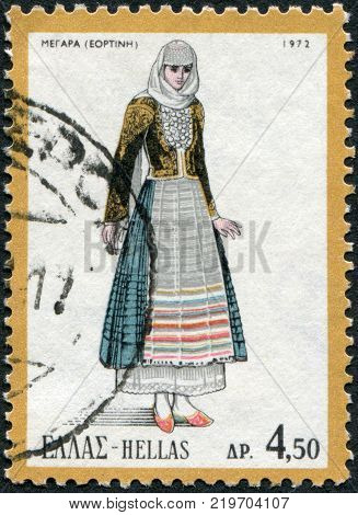 GREECE - CIRCA 1972: A stamp printed in Greece depicts a traditional woman's dress Megara circa 1972
