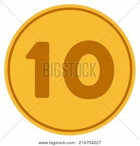Ten golden coin icon. Vector style is a gold yellow flat coin symbol.