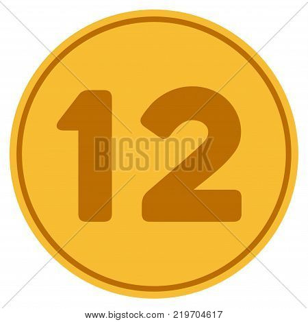 Twelve golden coin icon. Vector style is a gold yellow flat coin symbol.