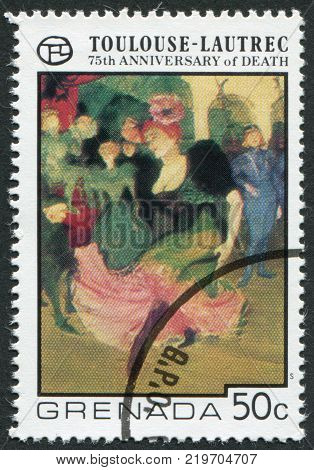 GRENADA - CIRCA 1976: A stamp printed in Grenada is dedicated to the 75 th anniversary of the death of Henri de Toulouse-Lautrec circa 1976