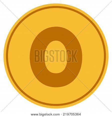 Zero golden coin icon. Vector style is a gold yellow flat coin symbol.