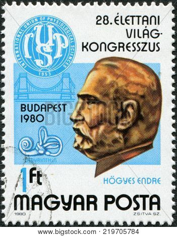 HUNGARY - CIRCA 1980: A stamp printed in Hungary is devoted to 28th International Congress of Physiological Sciences shows Dr. Endre Hogyes (1847-1906) and Congress Emblem circa 1980