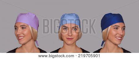 Optimistic blonde doctor woman portrait wearing surgery cap
