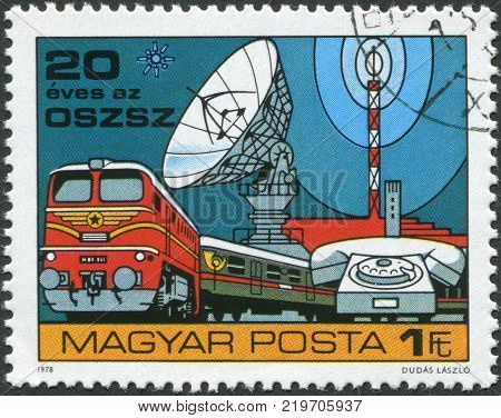 HUNGARY - CIRCA 1978: A stamp printed in Hungary is devoted to 20th anniversary of the Organization for Communication Cooperation of Socialist Countries depicted Train Telephone Space Communication circa 1978