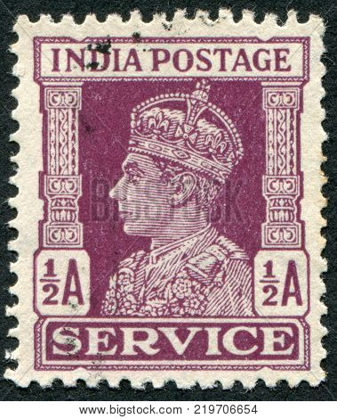 INDIA - CIRCA 1943: A stamp printed in India shows the King George VI circa 1943