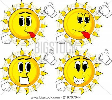 Cartoon sun threatening someone shakes his fist at viewer. Collection with happy faces. Expressions vector set.