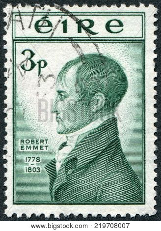 IRELAND - CIRCA 1953: A stamp printed in the Ireland depicts Robert Emmet circa 1953