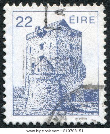 IRELAND - CIRCA 1982: A stamp printed in the Ireland shows Aughnanure Castle Oughterard circa 1982