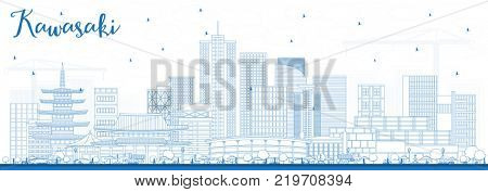 Outline Kawasaki Japan City Skyline with Blue Buildings. Business Travel and Tourism Concept with Historic Architecture. Kawasaki Cityscape with Landmarks.