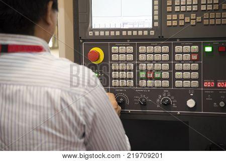 The CNC operator operate the CNC machine.