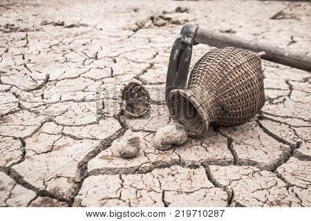 The cracked dry ground because of drought Concept drought and crisis environment.