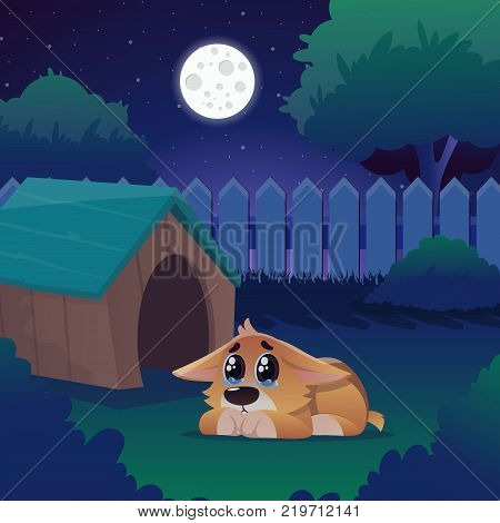 Corgi with tears in eyes lies on green lawn near his house. Frightened lonely puppy on backyard at night. Cartoon dog character. Bright full moon. Domestic animal. Vector illustration in flat style.