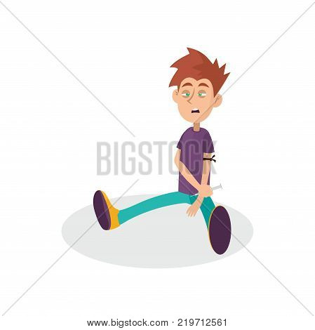 Young junkie using syringe with narcotic liquid. Heroin injecting. Drug abuse concept. Cartoon boy character sitting with apathetic face expression. Bad habit. Isolated flat vector illustration.