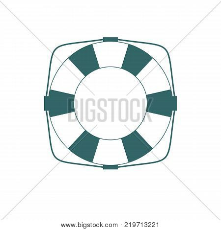 Lifebuoy icon in flat contour style isolated on a white background. Simple vector life ring or life preserver symbol.