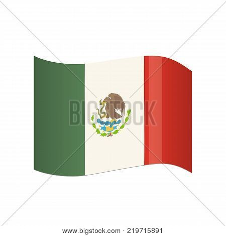 Traditional official flag of State of Mexico. Flag waving in the wind, with traditional colors and symbol that distinguishes the country. Carnival masquerade, festival in Mexico. Vector illustration.