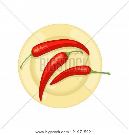 Spicy red chili peppers on a plate. Ingredients for cooking, adding flavor and flavor to food, seasoning, vegetable plant. Mexico food. Traditional Mexican cuisine. Vector illustration isolated.