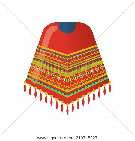 Mexican beautiful patterned cape on the shoulders, poncho. Traditional clothes. Carnival is a masquerade in Mexico City. Holiday, vacation with costumes, music, dance. Vector illustration isolated.
